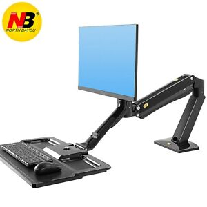Details About NB Monitor Mount Stand Adjustable Swivel Arm Gas Spring With  Keyboard Tray Arm
