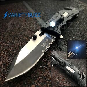 BLACK LED LIGHT TACTICAL SPRING ASSISTED KNIFE Military Pocket Folding Blade NEW