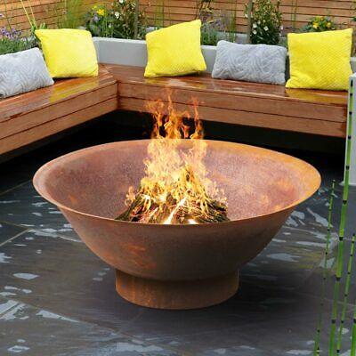 Rust Fire Pit 94cm Large Heavy Thick Bowl Outdoor Patio Camping Garden Ebay