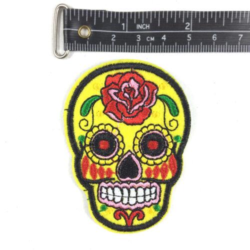 Sugar Skull PATCH RICAMATE aufbügler Rockabilly Teschio Dia de los Muertos Set
