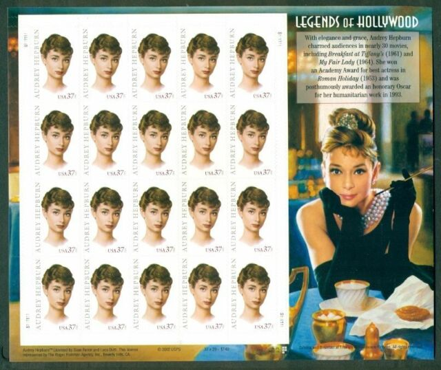 #3786 AUDREY HEPBURN Legends of Hollywood Full mint sheet of 20