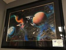"Star Trek ""To Boldly Go"" Lithograph Michael D Ward Signed by 50 Cast Members"