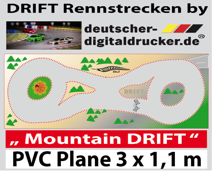 Mountain-Drift Pista-RC CARS 1:43 - PVC TELONE-dimensioni 3 x 1,10m
