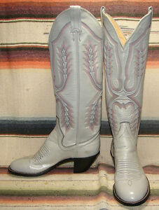 Womens Vintage Panhandle Slim Gray Leather Tall Cowboy