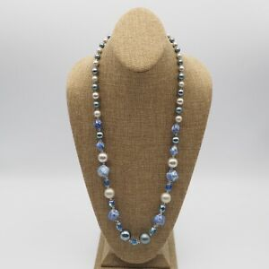Vintage-Estate-Shades-of-Blue-Gray-Pearl-And-Blue-Glass-Bead-Necklace-No-Clasp