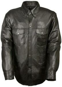 Mens-Motorcycle-Casual-Light-Weight-Full-sleeve-Leather-Shirt-with-Snap-buttons
