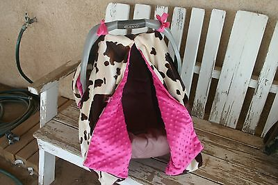 strap covers for infants or toddlers brown and tan cow print with pink minky