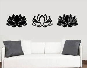 Lotus Flowers Design - Wall Art Vinyl Stickers Floral India Transfer ...