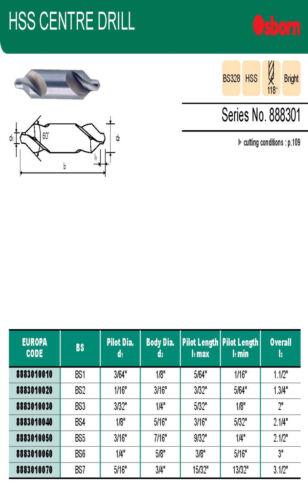 """Osborn Europa HSS Centre Drills BS2 3//16/"""" Diameter 888301 Series"""