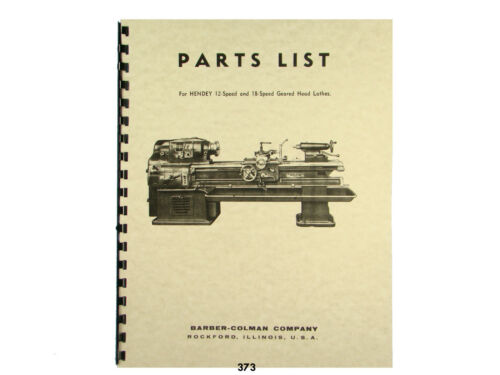 "SHELDON 13/"" M Series Metal Lathe Parts Manual 0652"