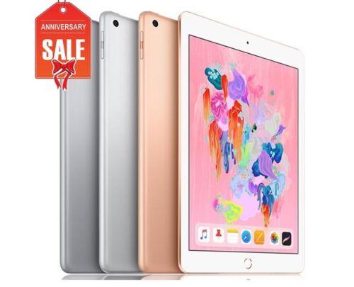 "Apple iPad 6th 9.7/"" 2018 Wifi Cellular Unlocked Gray Silver Gold 32GB 128GB"