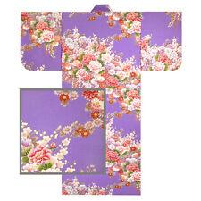 "Japanese 58""L Kimono Yukata Peony Wisteria Pattern/Purple Cotton/ MADE IN JAPAN"
