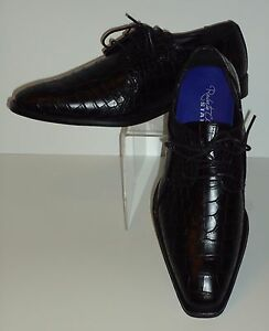Mens Black Gator-Look Pointed Toe Lace