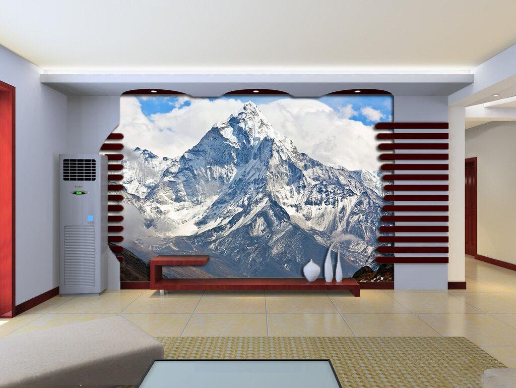 3D Neige Montagne 1 Photo Papier Peint en Autocollant Murale Plafond Chambre Art