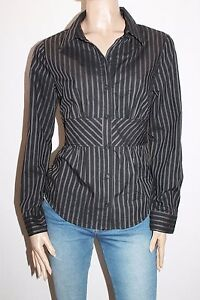 Hot-Options-Brand-Black-Grey-Striped-Long-Sleeve-Shirt-Top-Size-16-BNWT-SA41