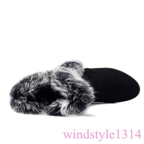 Hiver Femme vraie fourrure de lapin bottes hautes petit talon en cuir et daim CASUAL