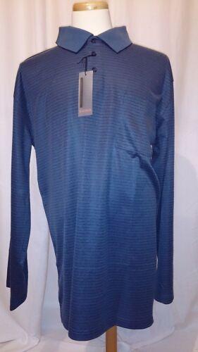 NWT Eccolo Moda Blue Striped Polo Mens Shirt Chest Pocket Long Sleeve Size 4XLT