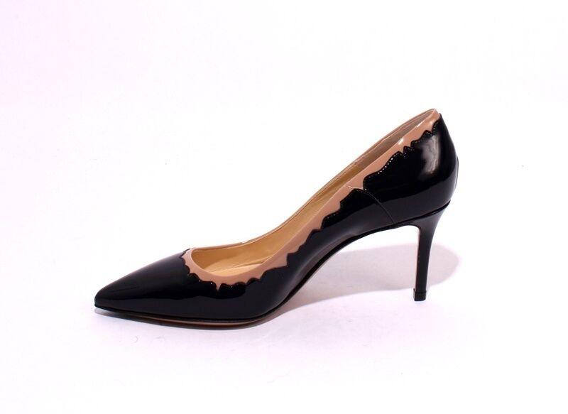 Nando Muzi 147C Dark Navy   Beige Patent Leather Leather Leather Pointy Pumps 37.5   US 7.5 b62773