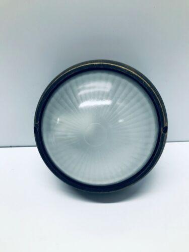 BLACK GOLDEN RUSTIC ALUMINIUM DIE CAST CIRCLE  BULKHEAD LIGHT GLASS GARDEN