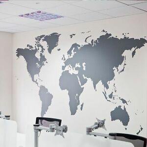 Large world map wall stickers removable art mural vinyl quote home image is loading large world map wall stickers removable art mural gumiabroncs Image collections