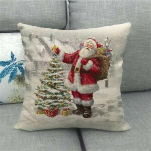 "Pillow Case Cushion Cover Covers 3D 18x18/"" Snowman Home Decor Christmas Sofa"
