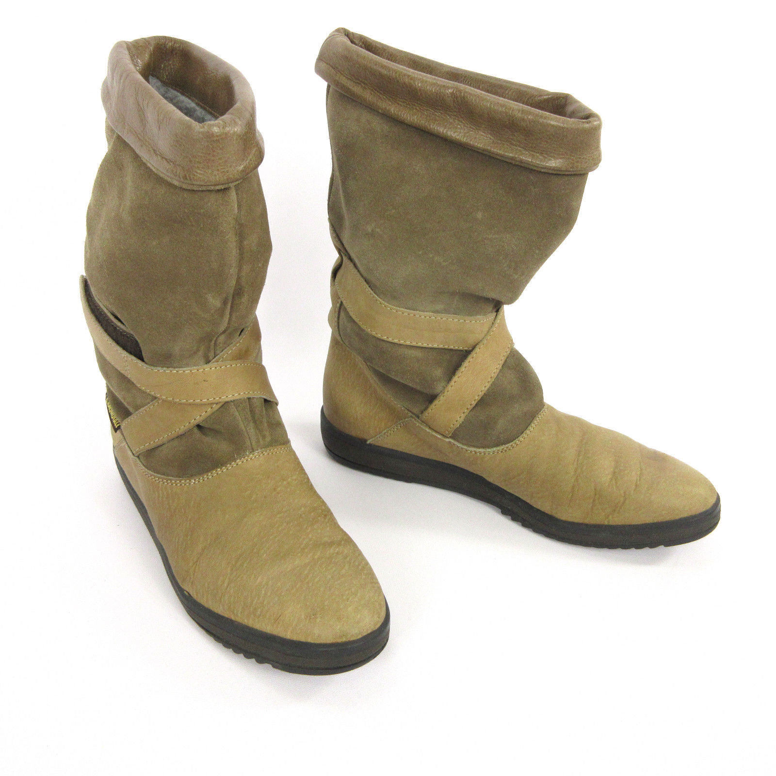 La Mondiale Boots 41 10 - 10.5 Beige Leather Suede Slouch Mid Calf Wedge