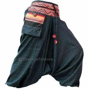 Negro De Mujer Haren Pantalones Gitano Hippie Aladdin Pantalones Bombachos Martillo Casual Hmong Ebay