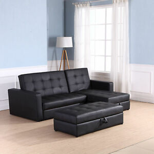 sports shoes 48049 daebe Details about HOMCOM 2 in1 Sofa Bed Chaise Loveseat Sectional Functional  Storage Sleeper Black
