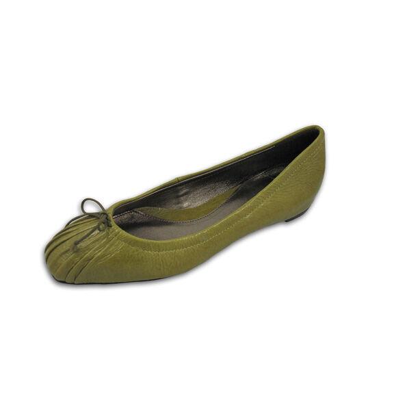Acid Green Leather Flat Flat Leather Shoe with Hidden Wedge Heel, Square Toe, Size 6 00eee7