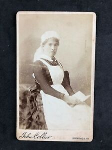 Victorian-Carte-De-Visite-CDV-Young-Nurse-Collier-Birmingham