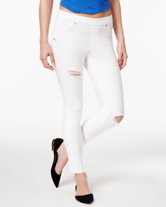 HUE-Ripped-Knee-Original-Denim-Skimmer-Leggings-White
