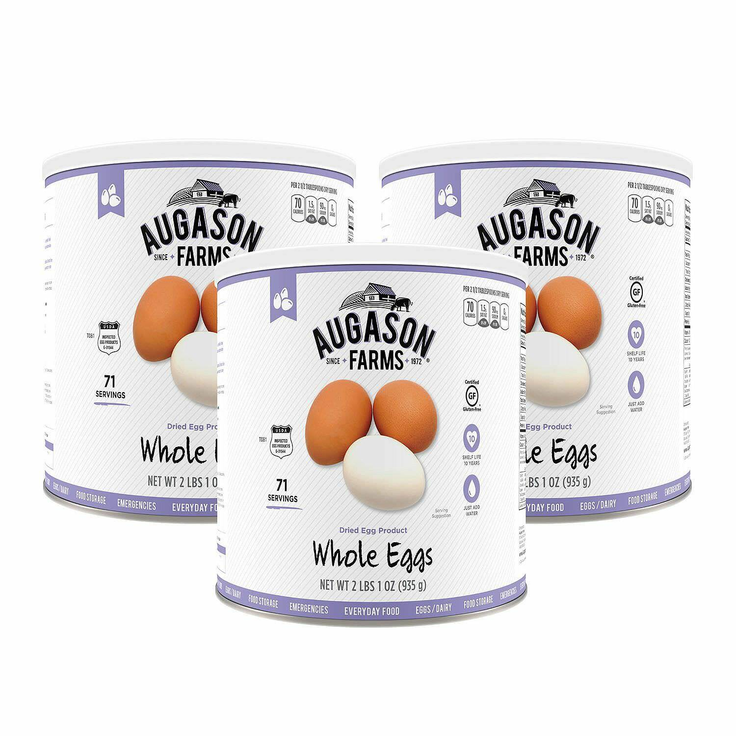 Augason Farms Dried Whole Egg Mix 3 pk 33  oz Cans Emergency Storage Food  factory outlet
