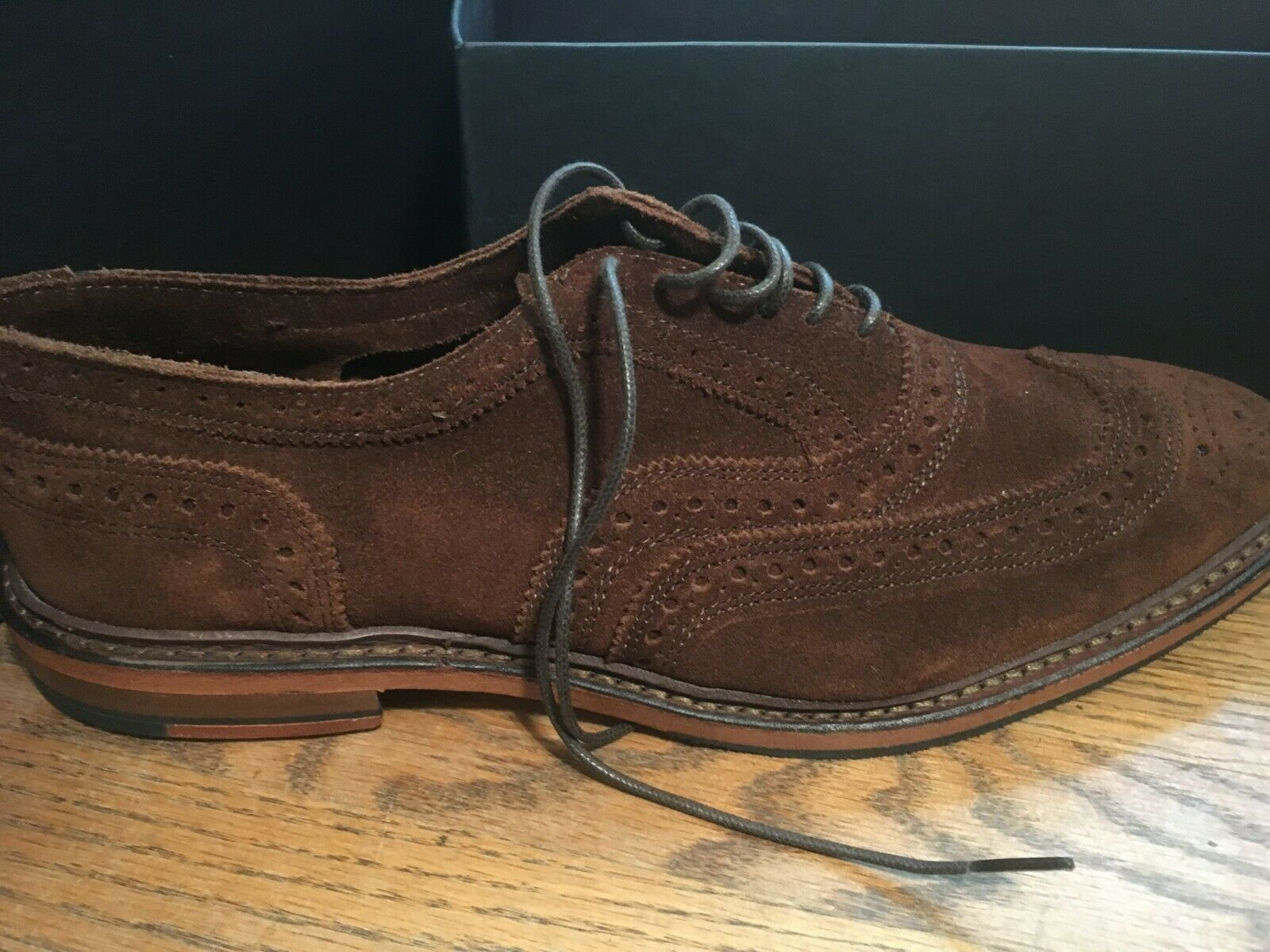 Brooks Brougehers Cognac Daim Bout D'Aile 10.5 D Made in USA