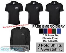 Personalizado Bordado Ropa De Trabajo paquete Printed T-Shirt Camisa Polo Sudadera