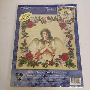 CANDAMAR-TIDINGS-OF-JOY-ANGEL-PICTURE-PILLOW-EMBELLISHED-CROSS-STITCH-KIT