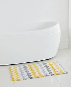 Chevron Zig Zag Yellow Gray White Cotton Bath Rug Mat 20 X 32