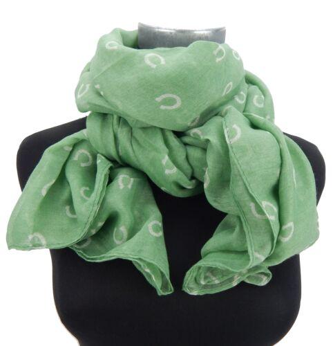 Damenschal grün weiß Hufeisen grüner Schal by Ella Jonte Pferd scarf horse shoe
