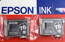 2 Genuine Epson 78 Black Inks T0781_R280 380 RX580 680 595/Artisan 50 fit 77 ink