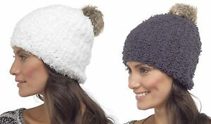 Image is loading Foxbury-Ladies-Fluffy-Beanie-Bobble-Hat-with-Pom- 533c6e24044