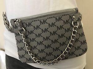 eb68127830e92 Michael Kors Belt Bag MK Signature Logo Fanny Pack Faux Leather Size ...