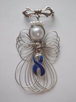 Colon Cancer Awareness Blue Ribbon Angel Pin Brooch Handmade
