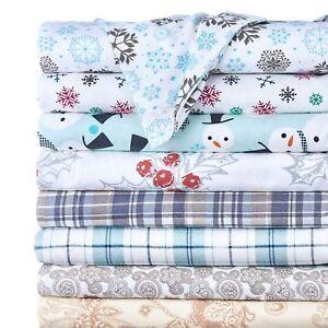 4-Piece-Set-100-Cotton-Flannel-Holiday-amp-Winter-Prints-Deep-Pocket-Warm-Sheets