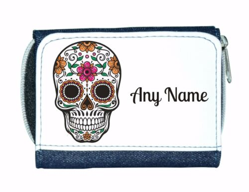 Personalised Denim Purse With Candy Skull//Flower