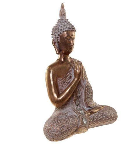 Buddha Figur 26cm Namaskara Mudra Thai budda mit Glitzersteinen Begrüßung Geste