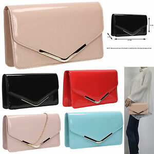 Women-Paris-Patent-Leather-Envelope-Ladies-Evening-Party-Prom-Smart-Clutch-Bag