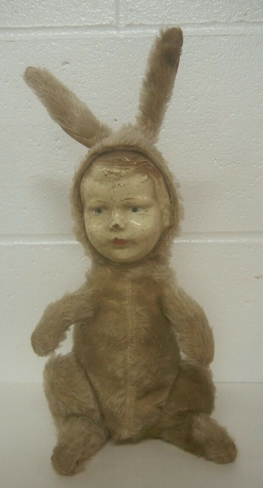 Antique Mohair Rabbit with Composition Head -- Unusual