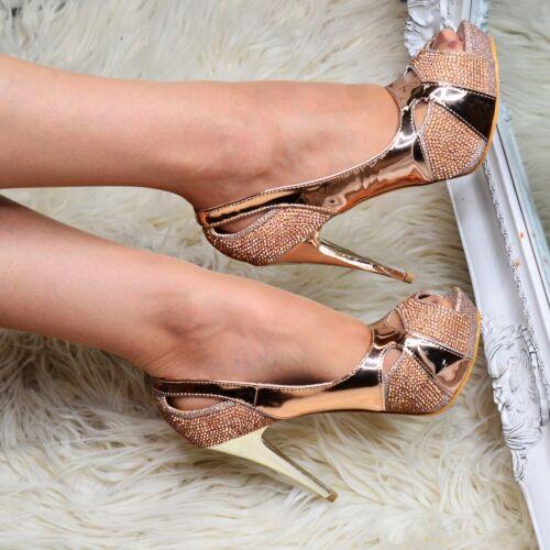 Ladies Diamante Stiletto Shoes Evening High Heels Peep toe Platform Pumps size