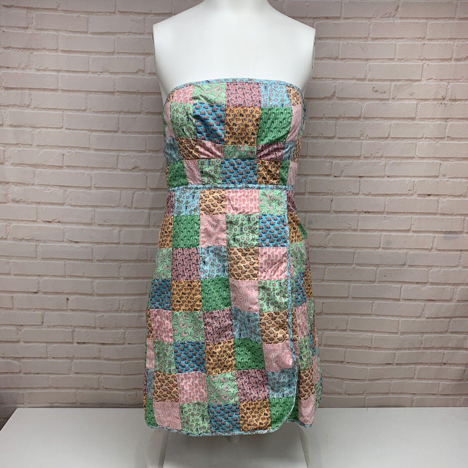 Vineyard Vines Strapless Patchwork Dress Sz 0 Starfish Lighthouses Turtles VV