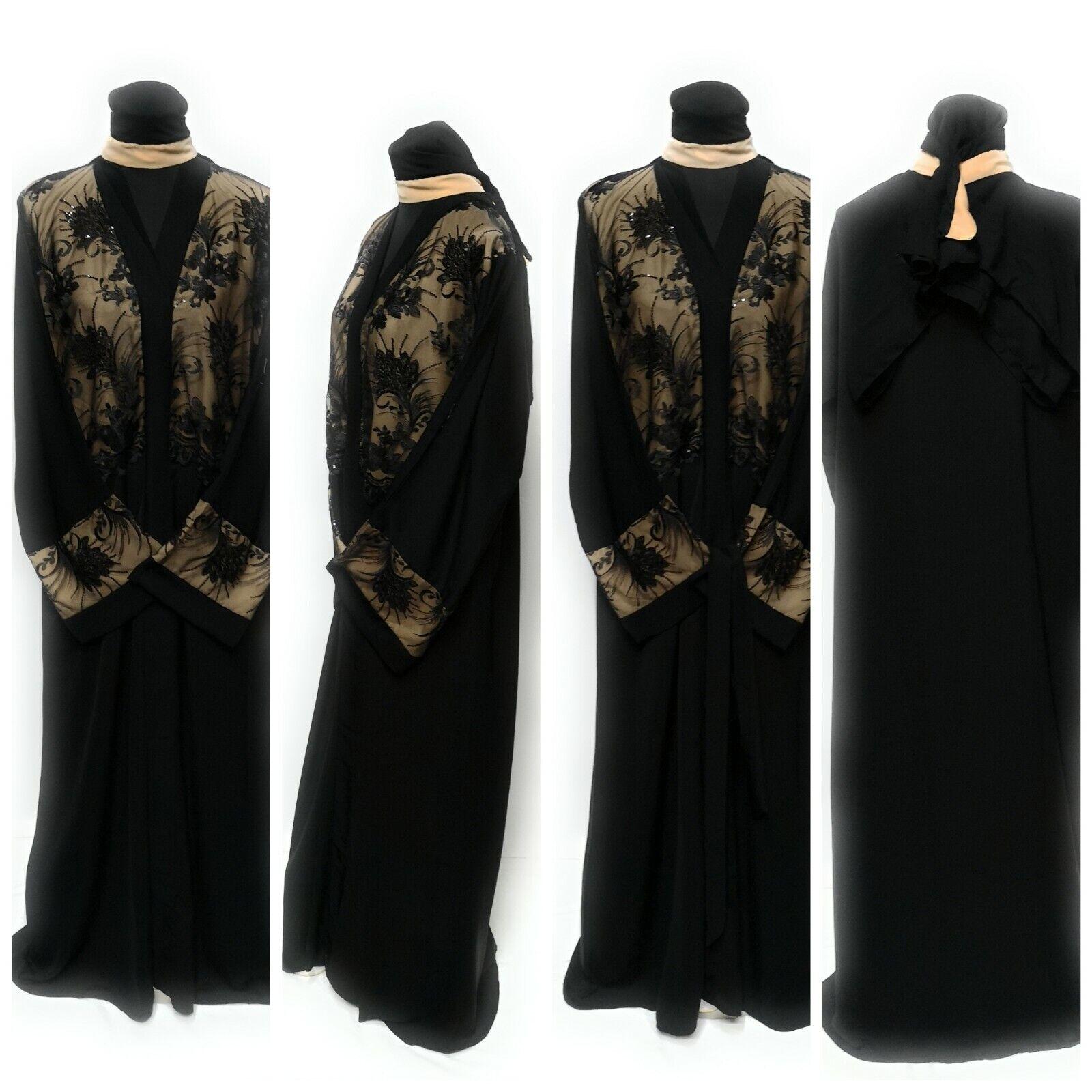 Womens Open Front Dress Saudi Arabic Long Abaya Farasha Jilbab
