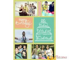 PERSONALIZED HAPPY BIRTHDAY Picture Photo GREETING CARD Gift Cake Collage